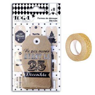 Etiquetas de Navidad perforadas Kraft...