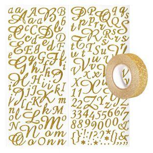 Golden alphabet & figures stickers...