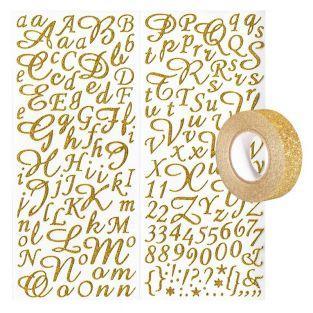 Stickers alphabet & chiffres dorés à...