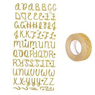 Aufkleber Alphabet mit golden Glitzer...