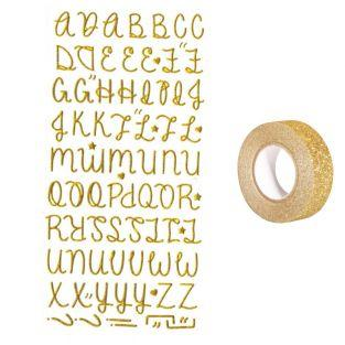 Golden alphabet Stickers with glitter...
