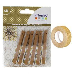 6 Mini-Papierfächer Gold + Golden...