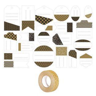 21 étiquettes perforées noir, doré &...