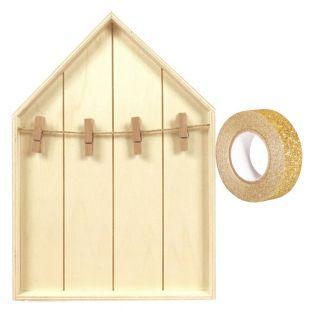Etagère maison bois avec pinces à...
