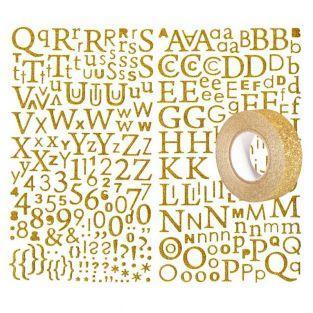 Alphabet autocollant paillettes doré...