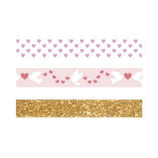 3 masking tapes St Valentin cœurs,...