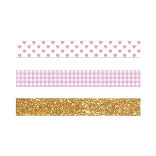 2 masking tapes rose vichy & cœurs +...