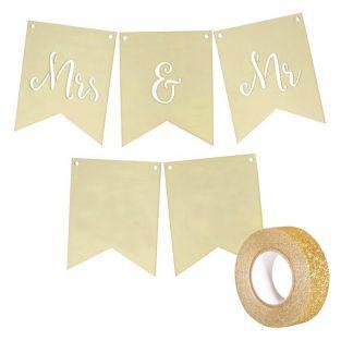 Hölzerne Hochzeitswimpel Mrs & Mr +...