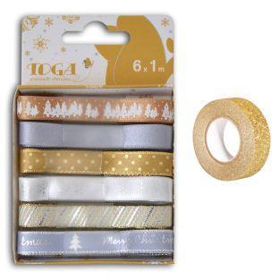 6 cintas de Navidad oro-plata +...