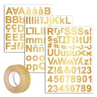 165 Golden alphabet stickers + Golden...