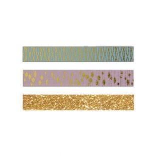 3 masking tapes dorés - rose, bleu, à...