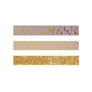 3 Washi Tapes - Rosa mit Goldenem...