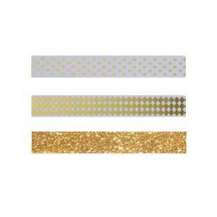 3 masking tapes dorés à motifs blancs...