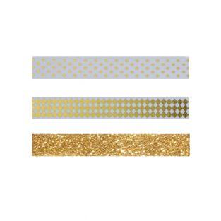 3 Masking Tapes Gold - Gold Muster &...