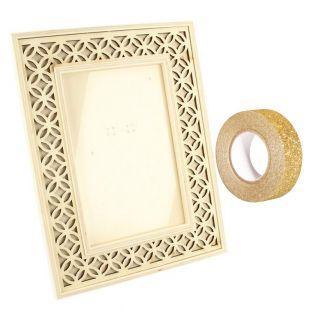 Holz-Bilderrahmen 16 x 21 cm + Golden...