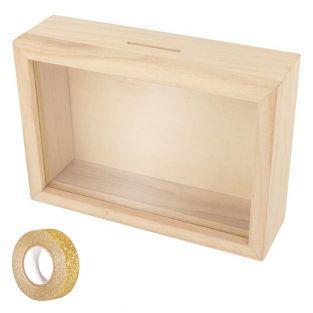 Sparbüchse Holzrahmen zum Gestalten...