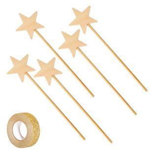 5 hölzerne Zauberstäbe 23 cm + Golden...