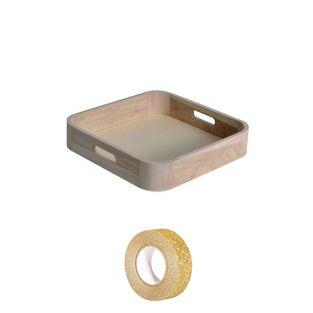 Wooden tray 29 x 19 cm + Golden...