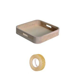 Wooden tray 32 x 22 cm + Golden...