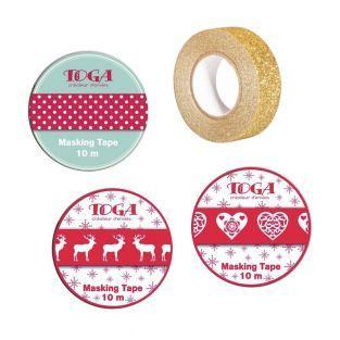 4 Masking Tape Weihnacht Rot, Weiß &...