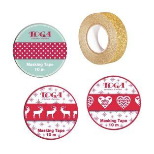 4 masking tapes de Noël - rouge,...