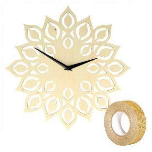 Wooden flower clock Ø 30 cm + Golden...