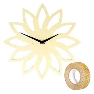 Wooden sun clock Ø 30 cm + Golden...