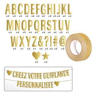 Buchstaben-Girlande gold + Golden...