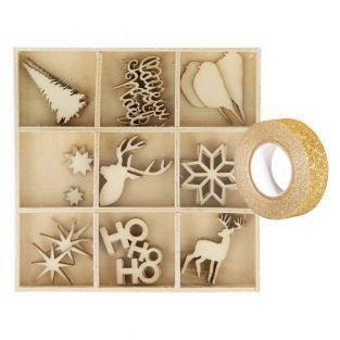Set 27 mini decoraciones de madera de...