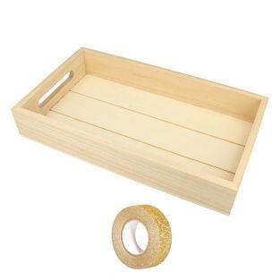 Bandeja de madera rectangular 30 x 17...