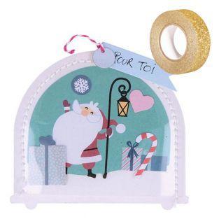 Weihnachtspapier Schneeball Set +...