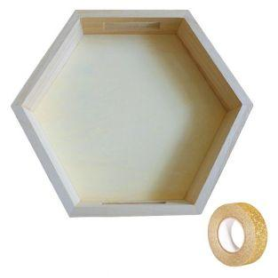 Bandeja hexagonal de madera 25 x 22 x...