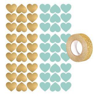 Aufkleber Herzen x 54 Blau und Gold +...