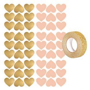 Aufkleber Herzen x 54 Rosa und Gold +...