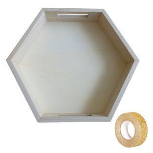 Hexagonal Holztablett 30 x 26 x 5 cm...