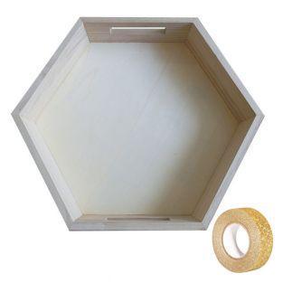 Hexagonal Holztablett 35 x 30 x 6 cm...