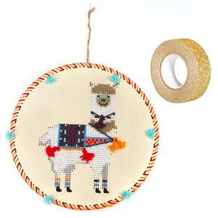 Wooden Embroidery suspension kit Lama...