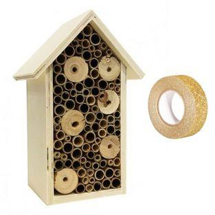 Insektenhaus aus Holz 20 x 13 x 9 cm...