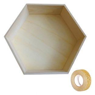 Hexagon wood shelf 30 x 26 x 10 cm +...