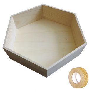 Etagère hexagonale bois 39 x 34 x 10...