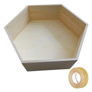 Hexagon wood shelf 36 x 31 x 10 cm +...