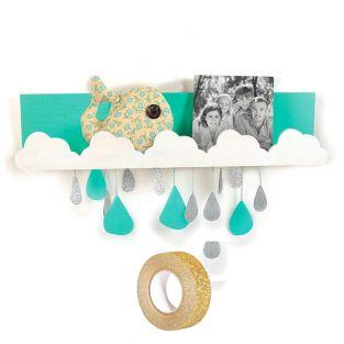 Wooden wall shelf 42 x 9 cm Clouds +...