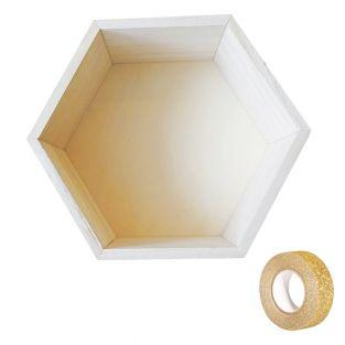 Hexagon wooden shelf 24 x 21 x 10 cm...
