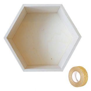 Holzregal Hexagon 27 x 23,5 x 10 cm +...