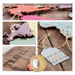 Wooden world map + Golden glitter...