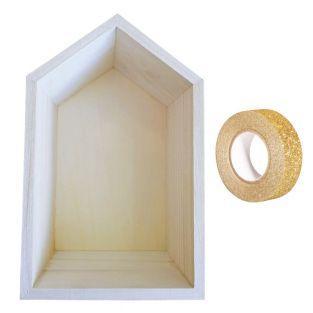 Scaffale in legno 22,5 x 14 x 10 cm +...