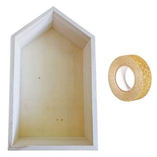 Etagère bois maison 30,5 x 18 x 10 cm...