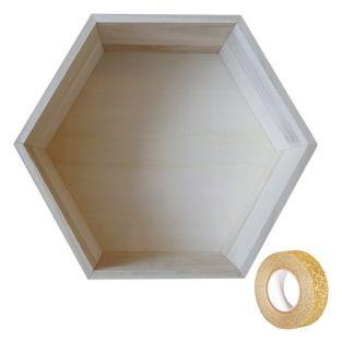 Holzregal Hexagon 30 x 26,5 x 10 cm +...