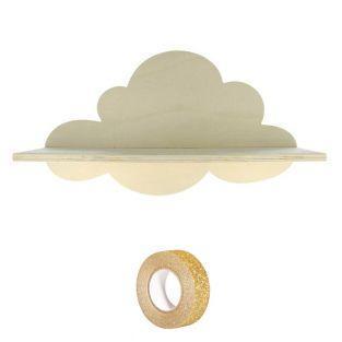Wooden Shelf Cloud 39 cm + Golden...