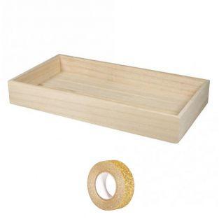 Bandeja rectangular de madera para...